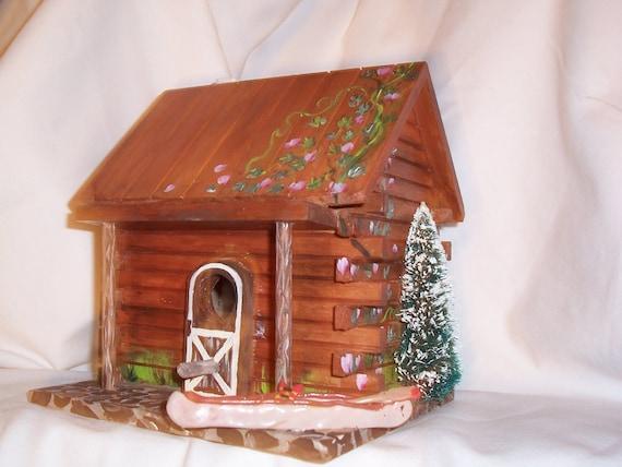 Bird House Log Cabin - Hand Painted Log Cabin BirdHouse
