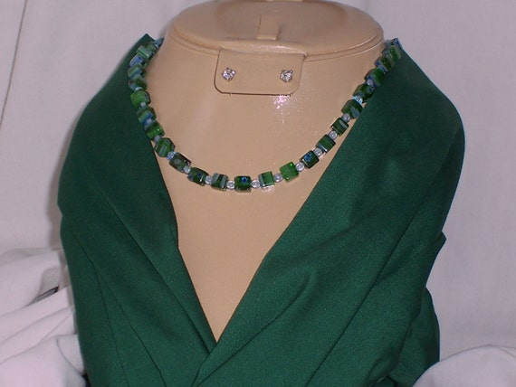 REDUCED From 27 Dollars Green & Blue Cane Glass Necklace - Glass Beaded Necklace - 19 1/2inch (N035)