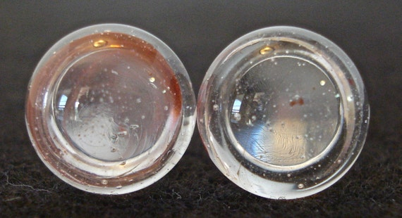"""4 Gauge """"HINT OF RED"""" Hand Made Borosilicate Glass Ear Plugs (Free Shipping) with o-rings 5mm"""
