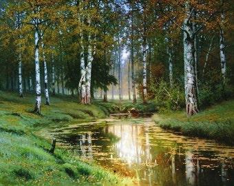 Landscape with a River - Cross stitch pattern pdf format