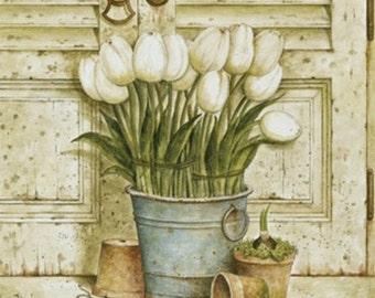 White Tulips - Cross stitch pattern pdf format