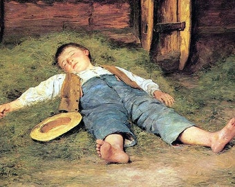 Boy Sleeping in the Hay - Cross stitch pattern pdf format