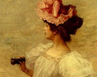 Woman with Opera Glasses - Cross stitch pattern pdf format