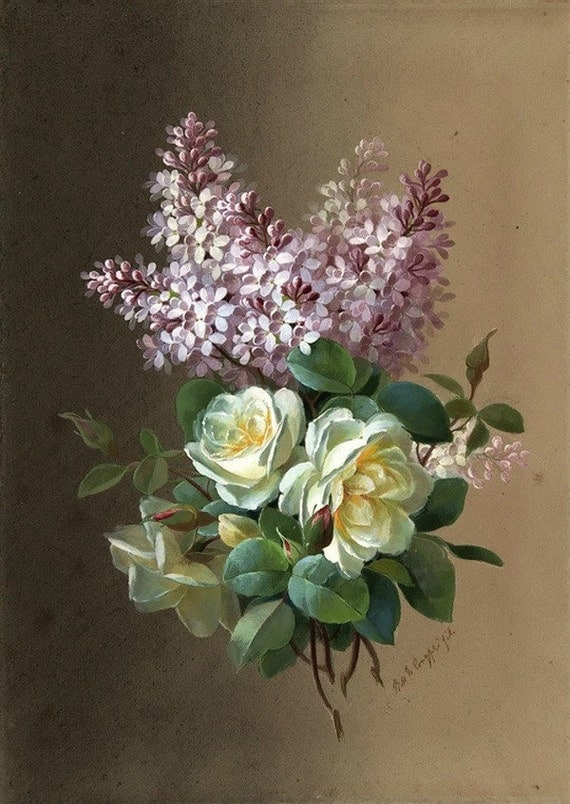 Roses and Lilacs - Cross stitch pattern pdf format