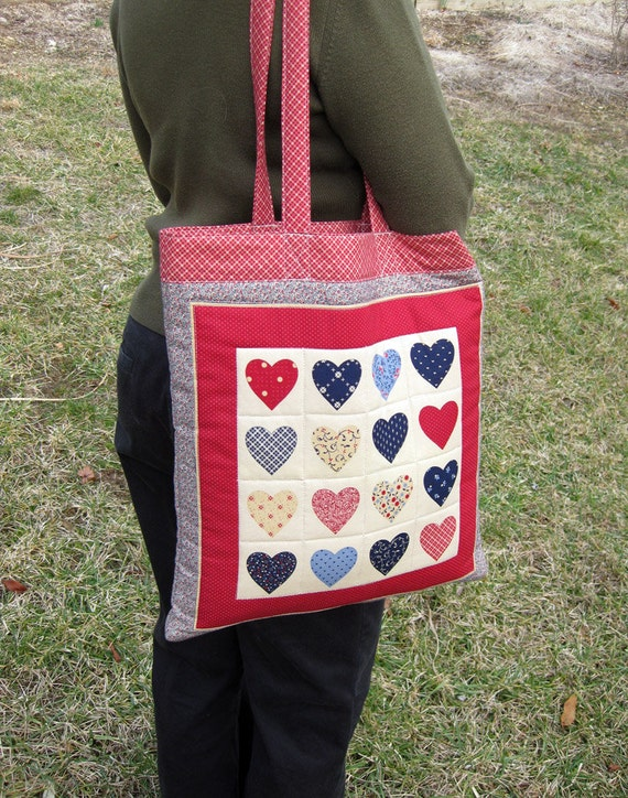 Vintage Quilted Sweet Heart Patchwork Tote Bag - School Bag