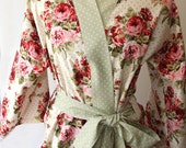 Polka Dot and Floral Short Kimono Robe