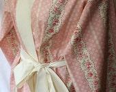Pink Floral Print Kimono Short Robe