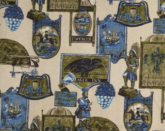Awesome Vintage Design  Blue 1800's Print Fabric 2 yds