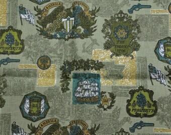 Vintage Green 1900's Print Patriot American Freedom Fabric 2 yards