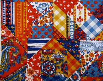 Vintage Waverly Fabric With Mustard, Red And Blue Patterned Patch Design 2 yds