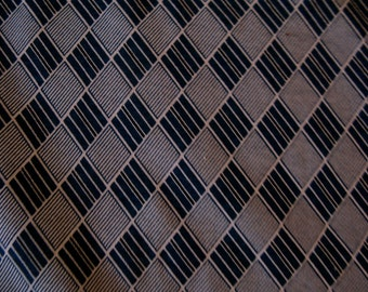 Awesome Vintage Blue White And Black Diamond Pattern Cotton Material 1 yd