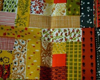 Vintage 60s Vibrant Patchwork Cotton Material
