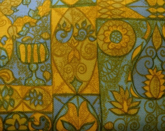 Awesome Art Deco Design Hand Printed Upholstery Fabric 2 YDS