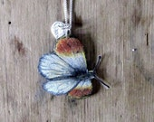 RESERVED FOR INGVILD Handmade, one of a kind, Jewelery Handdrawn Butterfly on sterling silver necklace