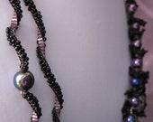Tahitian Dreams - Beadwoven Necklace Black Asymmetric Bib Pink Purple Grey OOAK