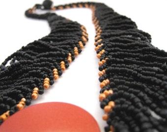 Phoenix - Beadwoven Necklace Black & Orange Collar