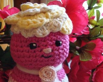 Pink Flower Girly Crochet Doll