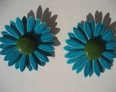 Blue Gerbera Daisy Earrings Vintage