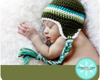 Earflap 3 Striped Beanie