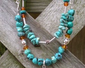 Desert Oasis beaded necklace, turquoise and amber with sterling silver, one of a kind - greygirldesigns