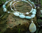 Gabrielle Three-in-one necklace, amazonite teardrop, white freshwater pearls, sterling silver - greygirldesigns