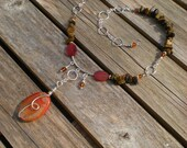Gypsy Fire beaded necklace, one of a kind, fire agate, amber, tiger eye, sterling silver, unique jewelry by Grey Girl Designs on Etsy - greygirldesigns