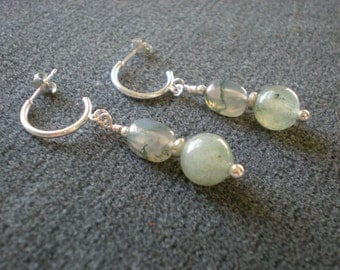 Moss Agate & Green Aventurine earrings, natural stone, sterling silver, one of a kind