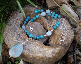 Heavenly necklace, amazonite, turquoise and sterling silver, one of a kind