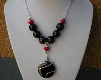 Bold Beauty beaded necklace OOAK black sardonyx, red quartz, sterling silver, jet