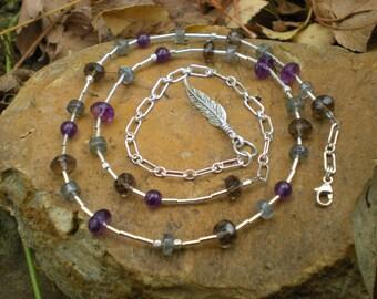 Wish beaded necklace, sterling silver, labradorite, amethyst, smoky quartz, charity donation item