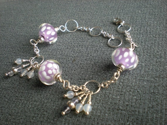 Saturday bracelet, sterling silver, glass, white agate, iolite, one of a kind jewelry by Grey Girl Designs on Etsy