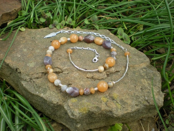 Misty Morning beaded necklace, Botswana agate, red aventurine, bamboo agate, sterling silver feather charm