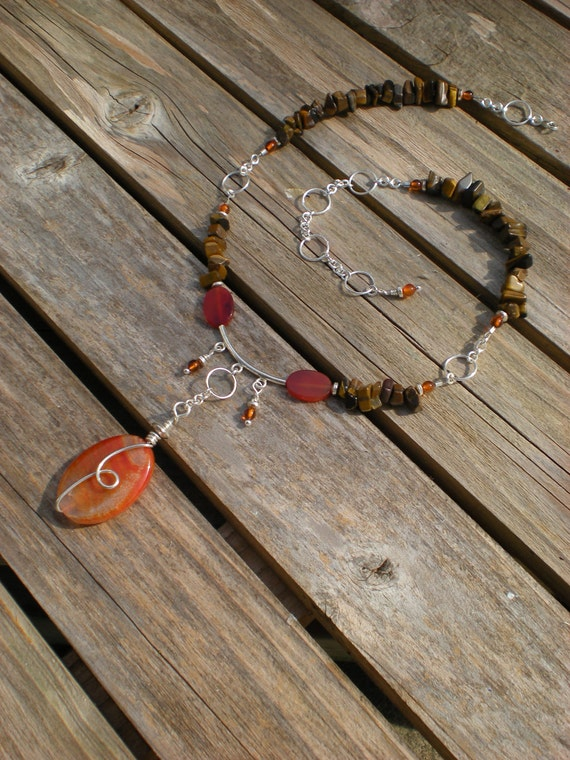 Reserved for Katie- Gypsy Fire beaded necklace, one of a kind, fire agate, amber, tiger eye, sterling silver by Grey Girl Designs on Etsy