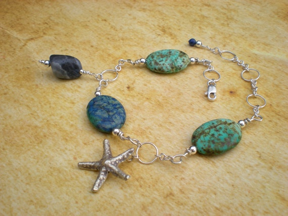 Ocean Song anklet, stone, sterling silver, starfish charm, one of a kind beaded jewelry by greygirldesigns