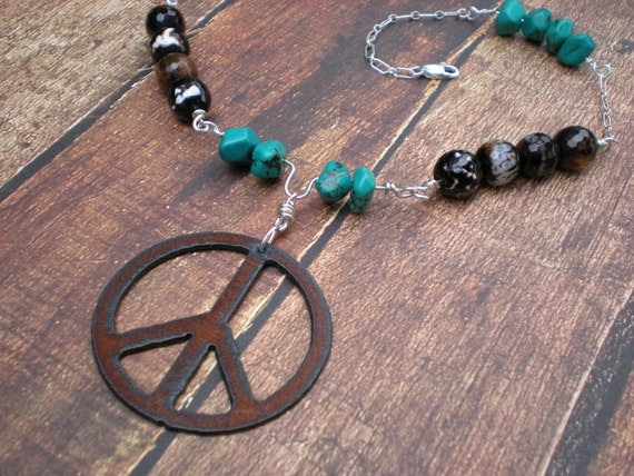 Peace necklace, peace sign pendant, sterling silver, turquoise, leopard agate, unique jewelry by Grey Girl Designs on Etsy