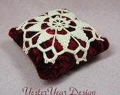 Pincushion, Bowl Stuffer or Ornament with Venetian Crochet Motif - Free Shipping