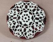 Pincushion, Bowl Stuffer or Ornament with Crochet Motif - Free Shipping
