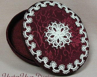 Keepsake Trinket Box with Tatted Lace - Oval Burgundy