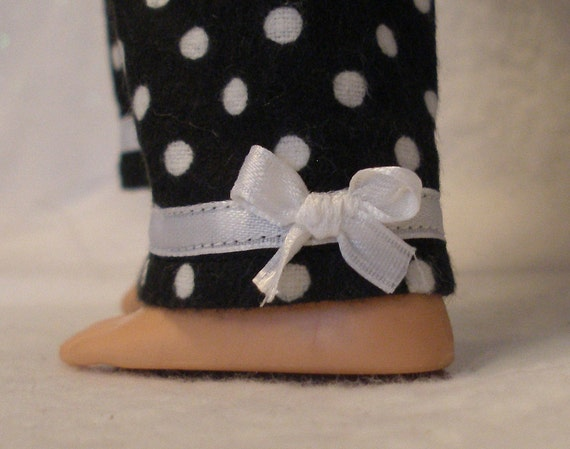 18 inch BFC Ink Doll Flannel Pajama Pants in Black with White Polka Dots