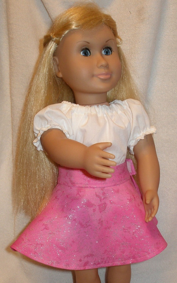 Pink Sparkle Circle Skirt for American Girl Dolls