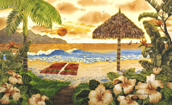 Tropical Beach Seascape With Palm Tree, Towels, Flowers and Palapa