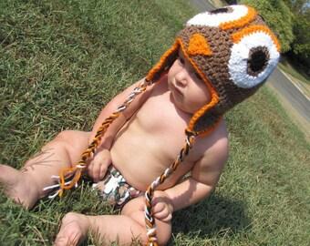 Crocheted Owl Hat Newborn-Adult