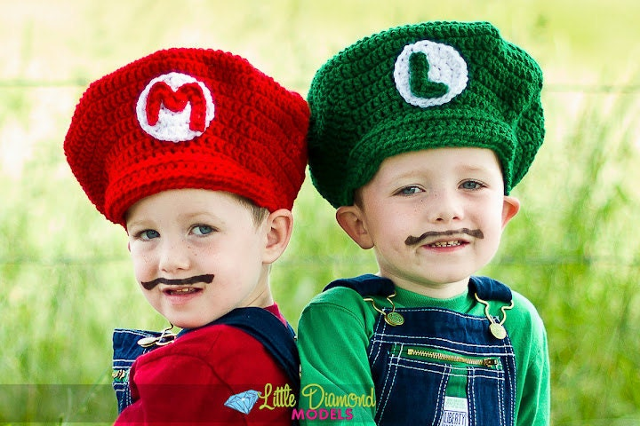 Crochet Pattern Mario Hat : Mario Brothers Crochet hat Mario and Luigi set by ...