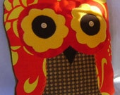 Handmade Travel Size  Yellow and Red Hawaiian Print Owl Pillow