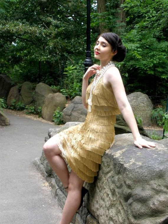 Flapper dress, 1920s, Gold fringe, Vintage look, swing dancing, retro, lindy hop, Deco, glam,  Gatsby, Jazz Age, party dress