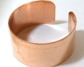 Copper cuff bracelet blank, 1 1/2 inch x 6 inch, unfinished bracelet base for heat patina, wire wrapping, enameling blank, etching blank