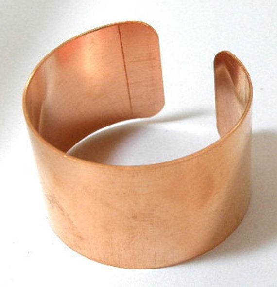 Copper cuff bracelet blank, 1 1/4 inch x 6 inch, unfinsihed bracelet base for enameling, heat patina, etching, decoupage, riveting