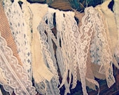 Burlap and Lace Garland, 3 feet, ivory, white, cream and tan.
