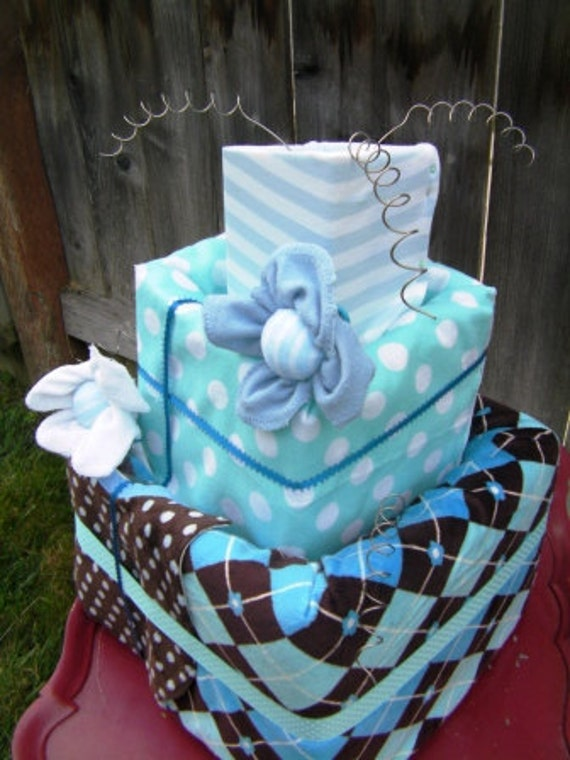 Diaper Cake For Baby Shower Baby Blue Square Topsy Turvy