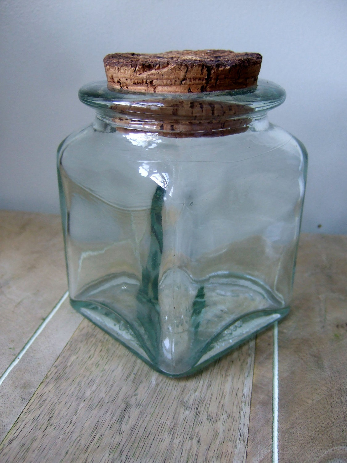 green glass jar with cork lid made in spain. Black Bedroom Furniture Sets. Home Design Ideas